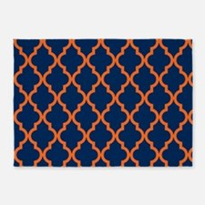 Moroccan Pattern: Orange & Navy Blu 5'x7'Area Rug
