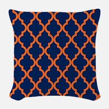 Moroccan Pattern: Orange & Nav Woven Throw Pillow