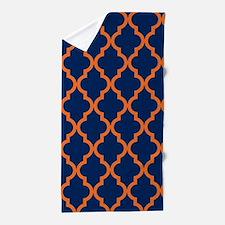 Moroccan Pattern: Orange & Navy Blue Beach Towel