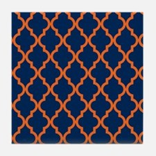 Moroccan Pattern: Orange & Navy Blue Tile Coaster