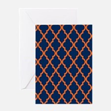 Moroccan Pattern: Orange & Navy Blue Greeting Card