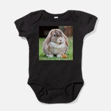 Long Eared Bunny and Carrot Baby Bodysuit