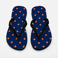 Polka Dots: Orange & Navy Blue Flip Flops