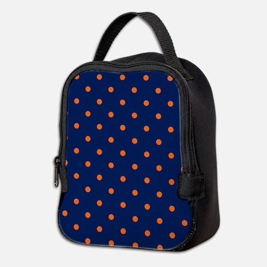 Polka Dots: Orange & Navy Blue Neoprene Lunch Bag