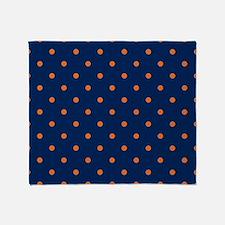 Polka Dots: Orange & Navy Blue Throw Blanket