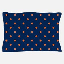 Polka Dots: Orange & Navy Blue Pillow Case