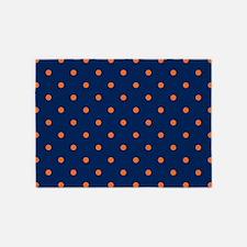 Polka Dots: Orange & Navy Blue 5'x7'Area Rug