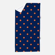 Polka Dots: Orange & Navy Blue Beach Towel