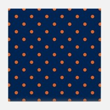 Polka Dots: Orange & Navy Blue Tile Coaster