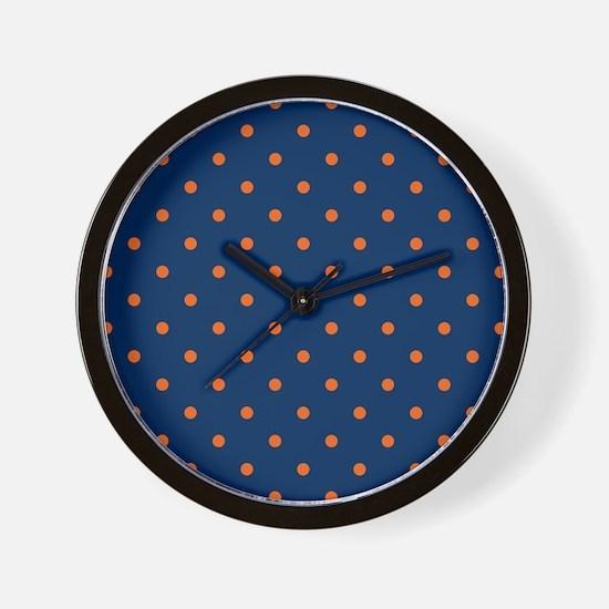 Polka Dots: Orange & Navy Blue Wall Clock