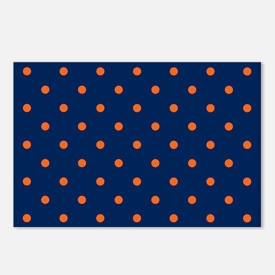 Polka Dots: Orange & Navy Postcards (Package of 8)