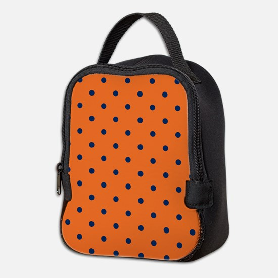 Polka Dots: Navy Blue & Orange Neoprene Lunch Bag