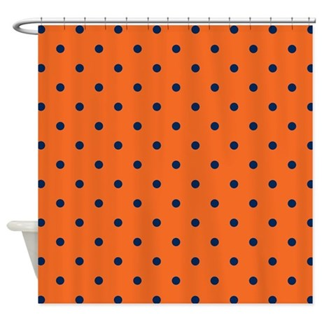 Polka Dots Navy Blue Orange Shower Curtain By Colors And Patterns 1