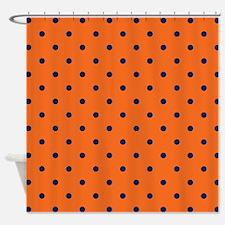 Polka Dots: Navy Blue & Orange Shower Curtain
