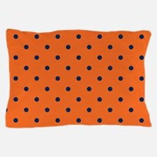Polka Dots: Navy Blue & Orange Pillow Case