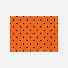 Polka Dots: Navy Blue & Orange 5'x7'Area Rug