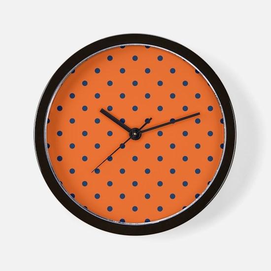 Polka Dots: Navy Blue & Orange Wall Clock