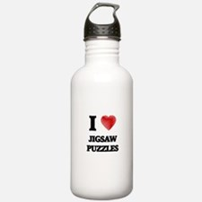 I Love Jigsaw Puzzles Water Bottle