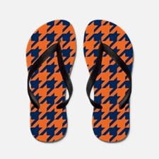 Houndstooth Checkered: Orange & Navy Bl Flip Flops