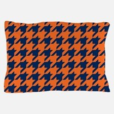 Houndstooth Checkered: Orange & Navy B Pillow Case