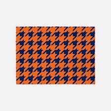 Houndstooth Checkered: Orange & Nav 5'x7'Area Rug