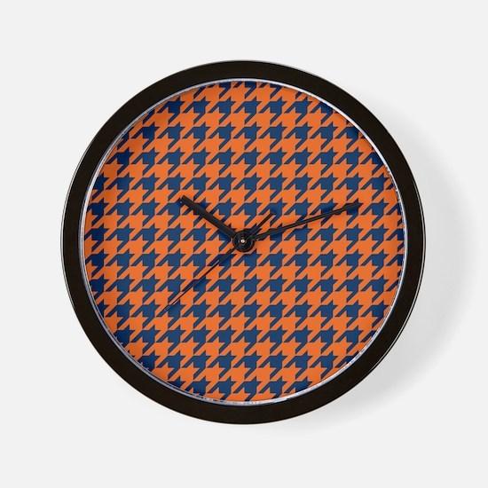 Houndstooth Checkered: Orange & Navy Bl Wall Clock