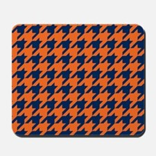 Houndstooth Checkered: Orange & Navy Blu Mousepad