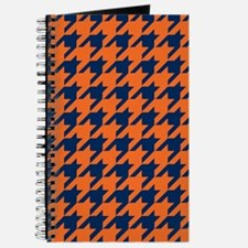 Houndstooth Checkered: Orange & Navy Blue Journal