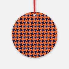 Houndstooth Checkered: Orange & Nav Round Ornament