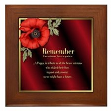 Remember Poppy Framed Tile