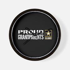 U.S. Army: Proud Grandparents (Black) Wall Clock