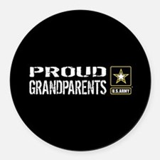 U.S. Army: Proud Grandparents (Bl Round Car Magnet