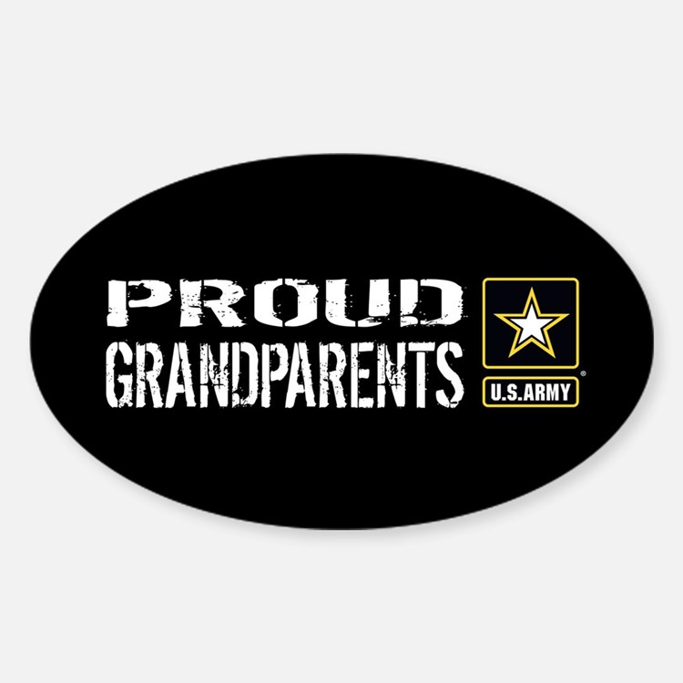 U.S. Army: Proud Grandparents (Blac Sticker (Oval)