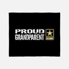 U.S. Army: Proud Grandparent (Black) Throw Blanket