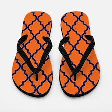 Moroccan Pattern: Navy Blue & Orange Flip Flops