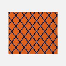 Moroccan Pattern: Navy Blue & Orange Throw Blanket