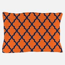 Moroccan Pattern: Navy Blue & Orange Pillow Case