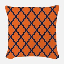 Moroccan Pattern: Navy Blue & Woven Throw Pillow