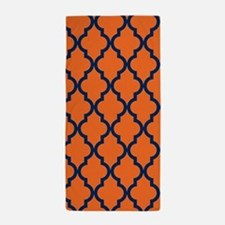 Moroccan Pattern: Navy Blue & Orange Beach Towel