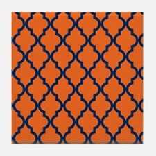 Moroccan Pattern: Navy Blue & Orange Tile Coaster