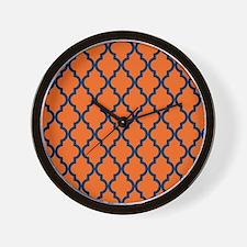 Moroccan Pattern: Navy Blue & Orange Wall Clock