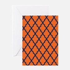Moroccan Pattern: Navy Blue & Orange Greeting Card
