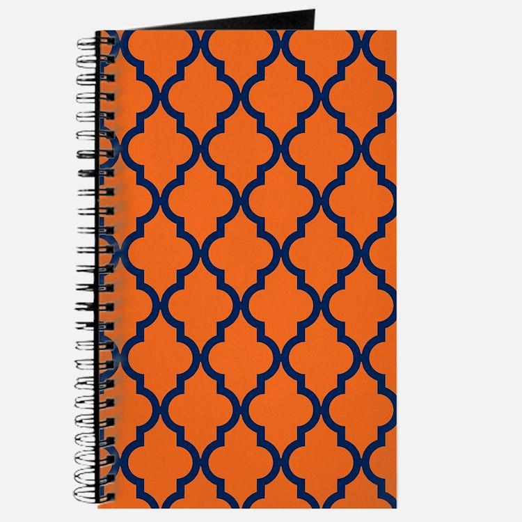 Moroccan Pattern: Navy Blue & Orange Journal