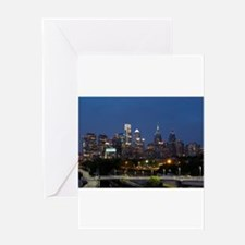 Philly skyline from Schuylkill Bank Greeting Cards