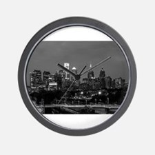 Philly skyline from Schuylkill Banks bo Wall Clock