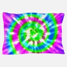 Retro Tie Dye Purple, Aqua, Green Pillow Case