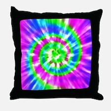 Retro Tie Dye Purple, Aqua, Green Throw Pillow