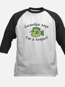 Grandpa Says I'm a Keeper Kids Baseball Jersey