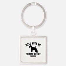 Mess With Wheaten Square Keychain