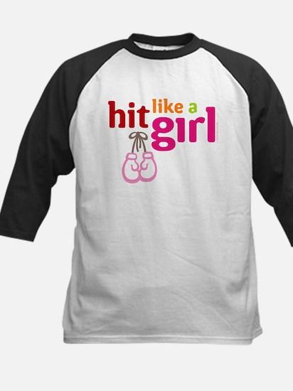 HitLikeAGirl_BlackTee Baseball Jersey